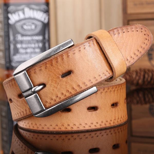 2018 nouvelle arrivée Mens ceinture de luxe femme Full Grain en cuir véritable peau naturelle cowboy Strap Fashion Jeans ceinture pour de ceinture