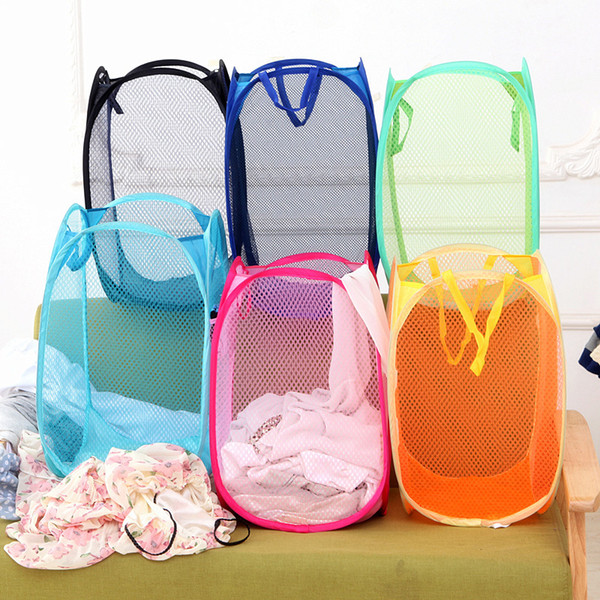 Foldable Mesh Laundry Basket Clothes Storage supplies Pop Up Washing Clothes Laundry Basket Bin Hamper Mesh Storage Bag wn457 300pc