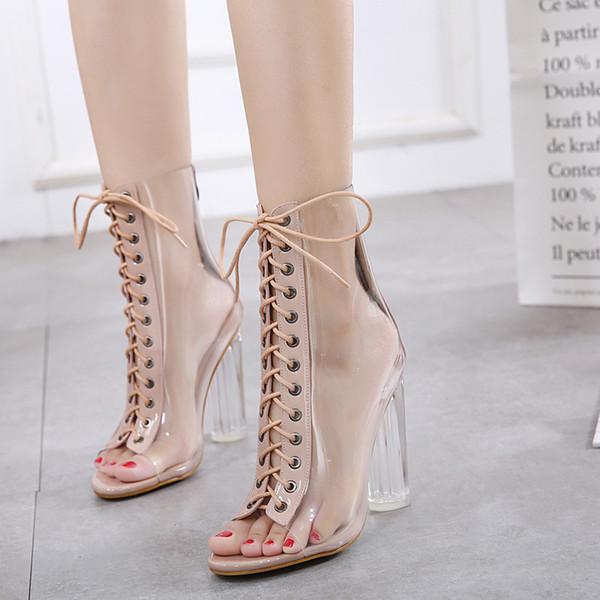 Yeni stil balık ağız zarif kadın sandalet botlar kalın ve şeffaf topuk gece kulübü Avrupa ve Amerikan PVC lace up sandalet ayakkabı