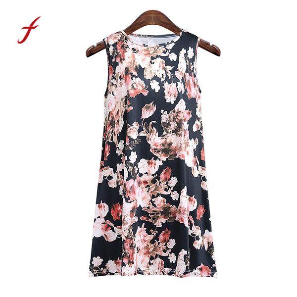 Feitong Summer 2018 Women Ladies Sleeveless O Neck Vest Floral PrinttTank Casual Tops Blouse camiseta mujer