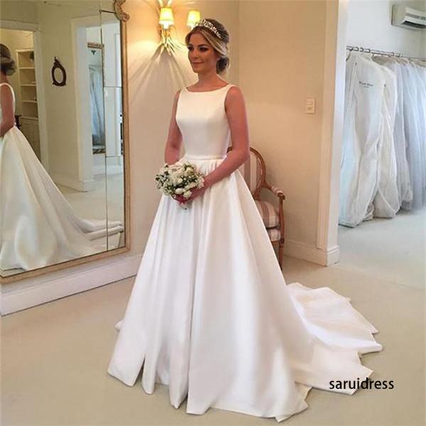 Новый размаху Line Поезд Backless Простые свадебное платье Белые атласные свадебные пл