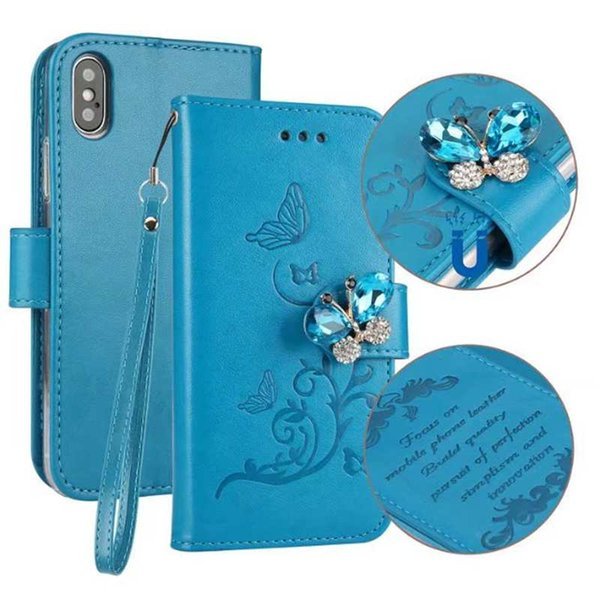 Bling Diamond Leather Wallet Case For Galaxy S8 S7(J5 J3 A3)2017 A5 2018 Magnetic Butterfly ID Card Slot Cover Flower Flip Pouch Strap