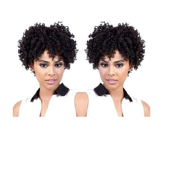 NEW fashion afro brazilian Hair short cut kinky curly wigs Simulation Human Hair curly wig with bang