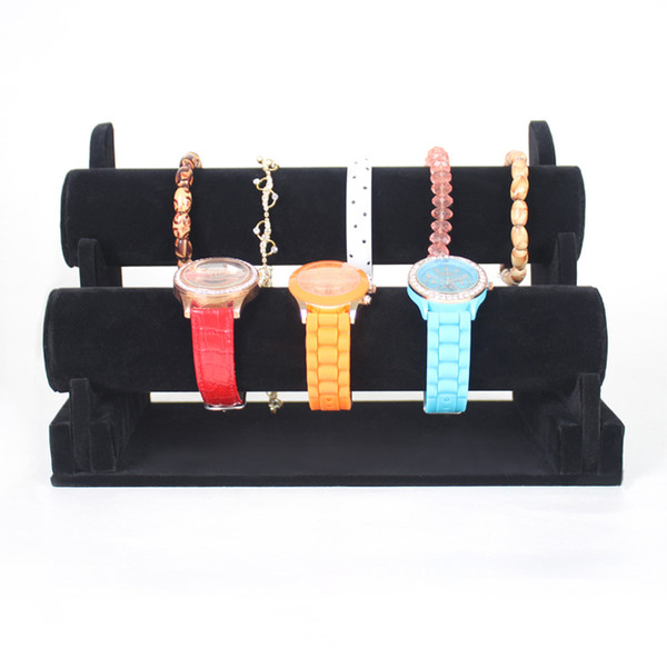 TONVIC Wholesale High Quality Black Velvet Bracelet Bangle Watch Display Stand Holder T-Bar For 2 Tiers