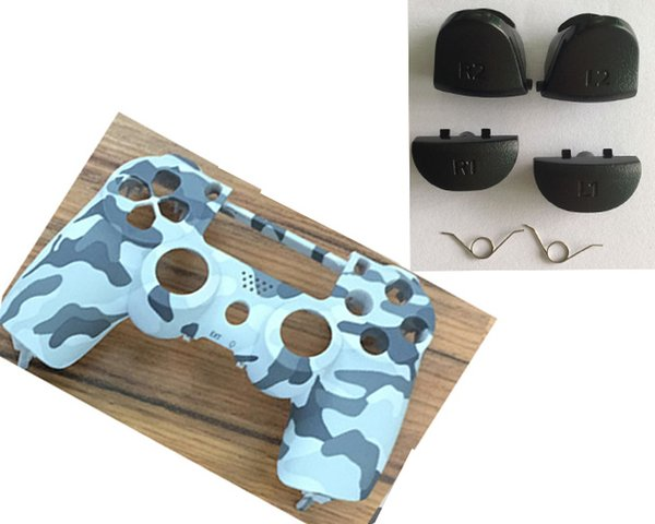 Front Camo Shell Camouflage Housing Case Cover+R1 L1 R2 L2 Buttons Springs for PlayStation 4 PS4 DualShock 4 Controller Repair