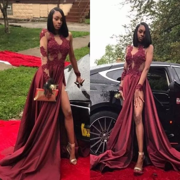 Burgundy Long Sleeves Thigh-High Slit Prom Dresses 2018 Black Girls Jewel Appliques Appliques Long Arabic Evening Party Gowns Custom