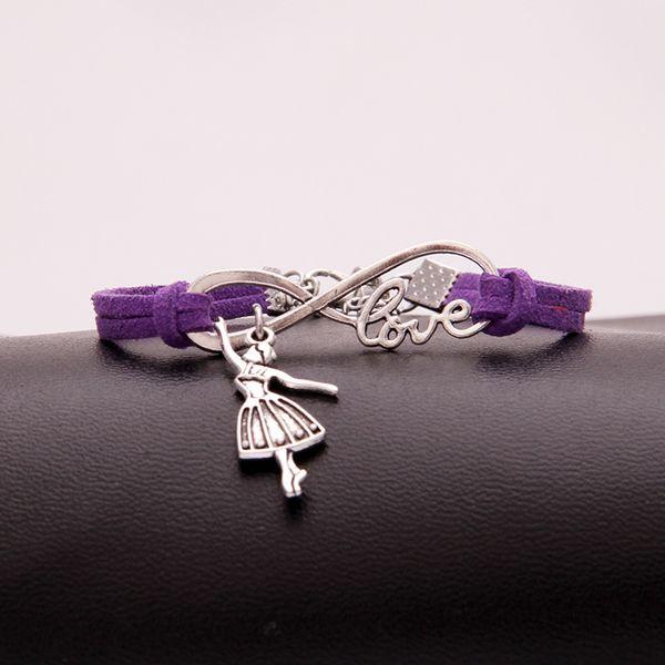Fashionable Charm Lover Fashion Infinity Love Angel Ballerina Girl Bracelets 2018 Top Selling Vintage Purple Leather Suede Jewelry women men