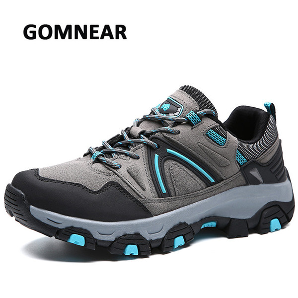 GOMNEAR Men's Outdoor Hiking Shoes Breathable Trekking Shoes Mountain Climbing Camping Sneakers Anti-skid For Men