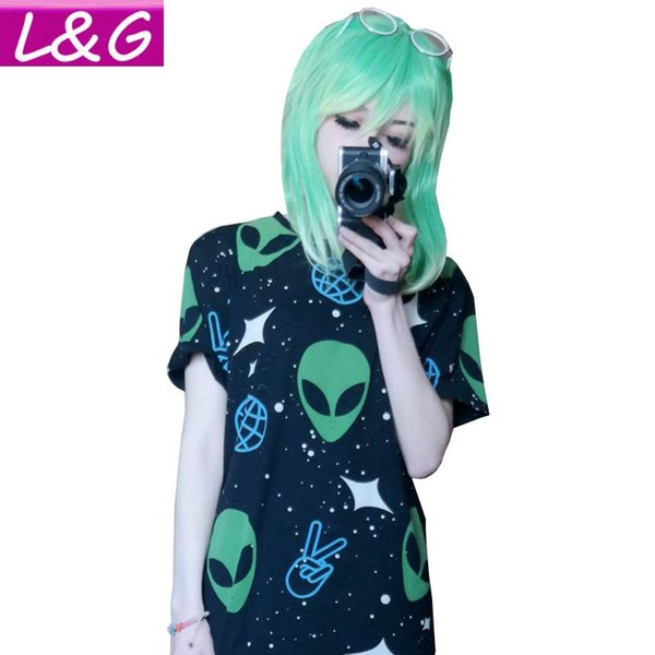 Wholesale-Fashion Harajuku Punk Alien ET Print Black T Shirt Women Tops Casual Short Sleeve T-Shirt Autumn Ladies Shirt 21145