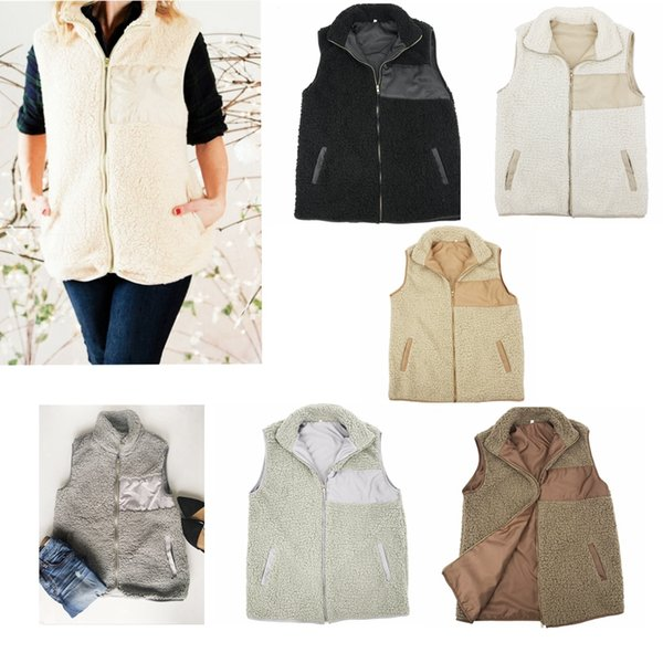 5 colors Winter Warm Women Sherpa Vest Gilrs Casual Coat Plus Size Sleeveless Zip Up Jacket with Poclet Outwear Tank Top Clothing MMA613 12