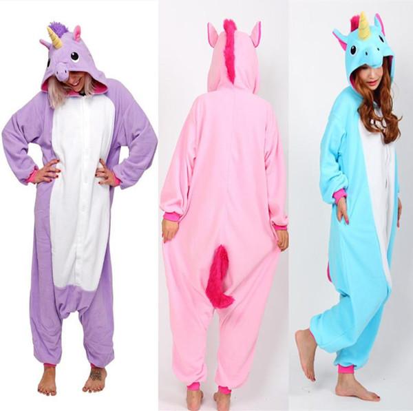 Rosa Blau oder Lila Pony Unicorn Cosplay Kostüme Onesie Pyjamas Kigurumi Jumpsuit Hoodies Erwachsene Strampler Für Halloween Mardi Gras Karneval