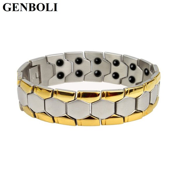 Hot! New Fashion Jewelry Magnetic Titanium Bio Energy Bracelet For Men Blood Pressure Health Care Bracelets