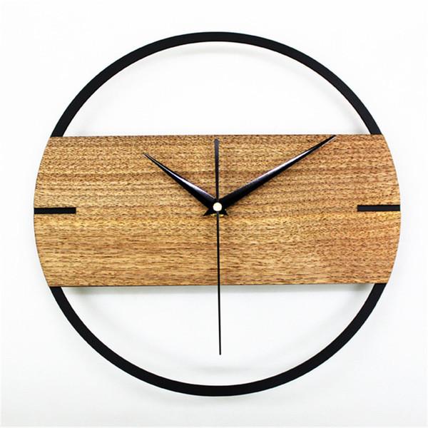 12 Pouces En Bois Moderne Ultra-silencieux Style Minimaliste Horloge Murale Rétro Montre de Poche Décor Artisanat Naturel Salon Horloge Ornement