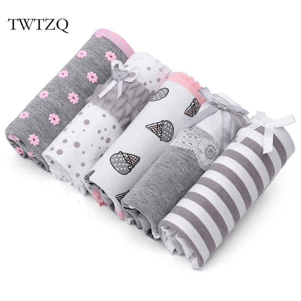 TWTZQ 5Pcs/Lot Flower Striped Women Cotton Briefs Underwear Bow Mid-Waist Panties Ladies Girl Flower Women Panties 3NK019