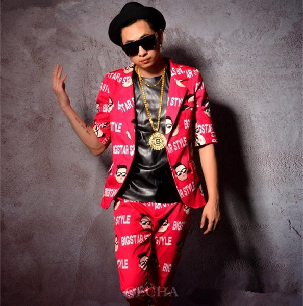 Tide new male suit stage costume rose red fashion slim jacket blazer ninth pants trousers sets singer dancer DJ DS prom performance clothing