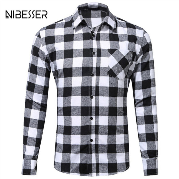 wholesale Cotton Casual Plaid Shirts Mens Pocket Business Long Sleeve Slim Fit Brushed Flannel Shirt Leisure Styles Shirt Tops