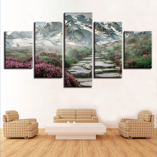 Wall Art 5 Panel Snow Mountain Stone Steps Road Flower Pictures HD Print Natural Scenery Poster Frame Canvas Painting Home Decor