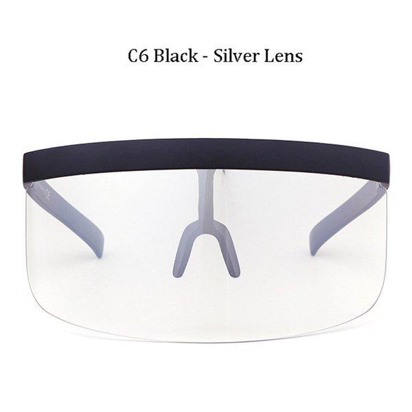 C6 Noir Cadre Argent Lentille