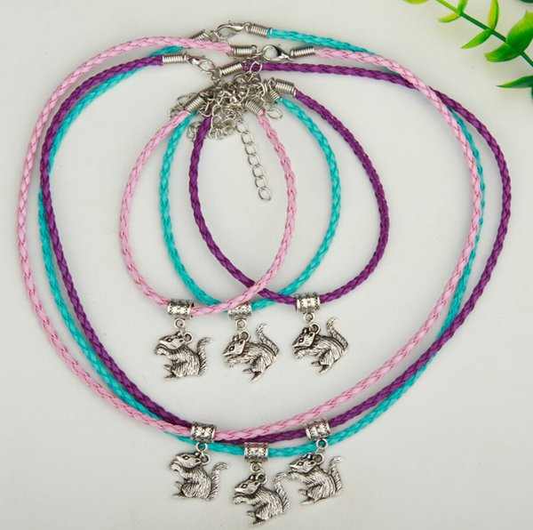 Hot Sale 10Set/Lot Alloy Ancient Silver Squirrel Charm Pendant Multicolor Braided Rope Necklace Bracelet Set Women&Men Jewelry Holiday Gift