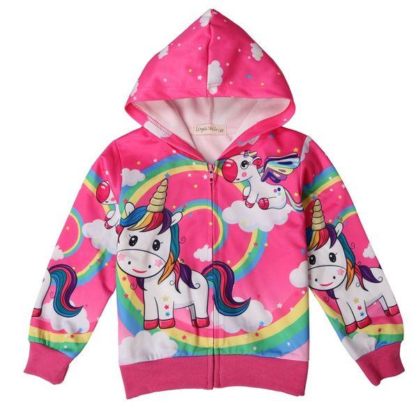 Children cartoon unicorn jacket girls spring thin printing coat hooded cute pattern outwear for kids 2019