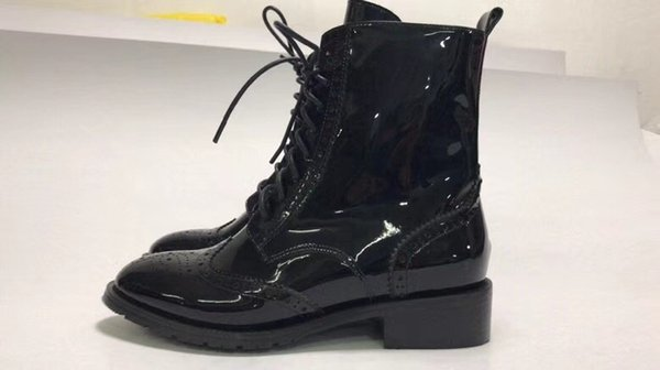 Counter quality top genuine leather black round toe Fashion lace-up women ankle boots