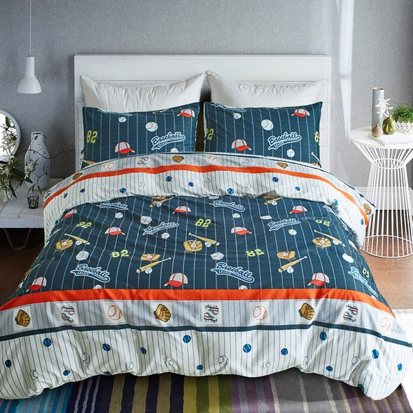 Luxury Linen Collection 4 Piece Full Size Printed Sheet Set with Pillowcase Baseball Blue Kids//Boys//Teens