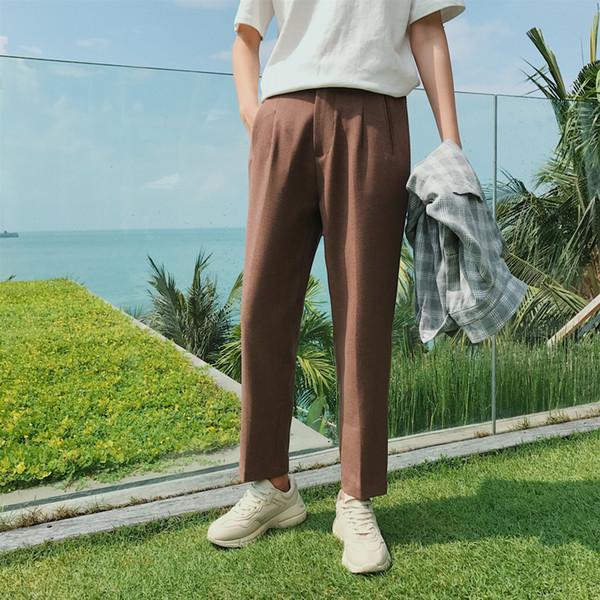 MIXCUBIC 2018 Autumn England style wild Exquisite brown suit pants men casual loose suit Pants men trouser,S-XL