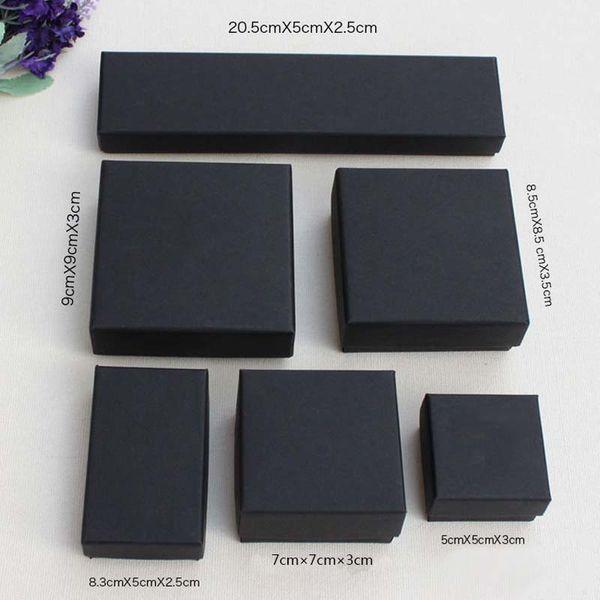 Hohe Archiv Schwarz Kraft Schmuck Verpackung Armband Halskette Ring Ohr Nagel Box Weihnachten Neujahr Geschenk Anpassen 6 Größe