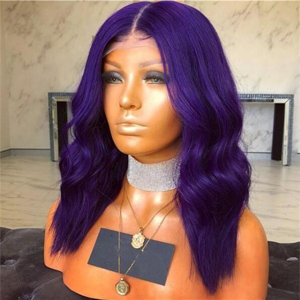 Purple Straight Human Hair Lace Front Wigs For Black Women Raw Indian Virgin Hair Glueless Full Lace Wigs With Baby Hair 130% Density