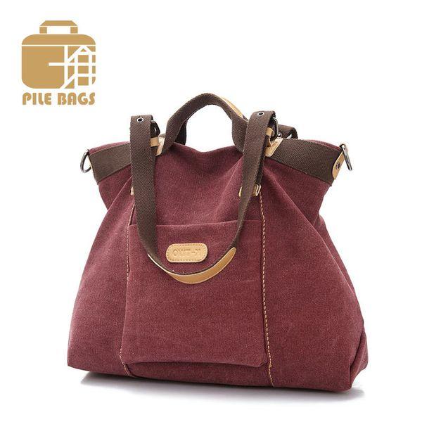 Ladies Hand Bags High Quality Designer Canvas Handbags Solid Women Big Bag Hobos Shoulder Tote Fashion Canvas Messenger Tote Bag Y18102604