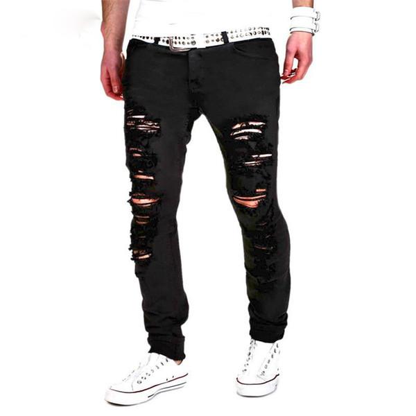 New Denim Ripped Jeans Men Skinny Distressed Slim Fit Designer Biker Hip Hop White Black Jean Male Skinny Jeans Pants