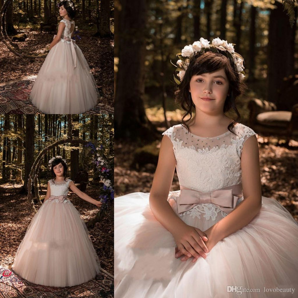 costume lace bow Flower Girl Dresses for Wedding Blush Pink Appliqued long sleeve Princess Dress ribbon Vintage Kids First Communion Dress