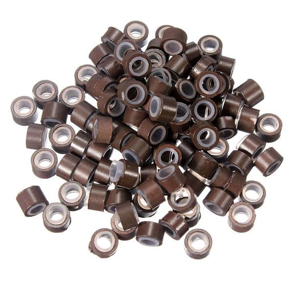 80-100 unids forrado de silicona micro anillos perlas bucles punta pinzas para el cabello extensiones de cabello 5 mm color marrón claro venta al por mayor envío gratis