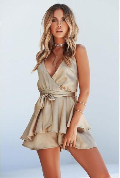2019 Wholesale Women's Italian fashion Design Sexy Deep V-Neck Open Back Dress Ladies Casual Elegant Sleeveless Golden Woven Jumpsuit