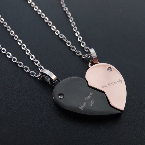 Fashion jewelry Stainless steel heart-shaped couple pendant combined with belt, DR03010882P free shipping.