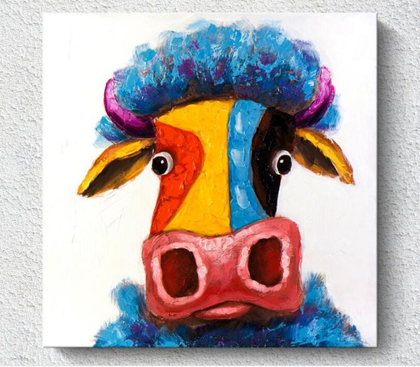 Wholesale freeshiping Spraying Oil Painting Printing Abstract cute colourful Cow Unframed semi-manufacture Fiber cloth Painting home decor