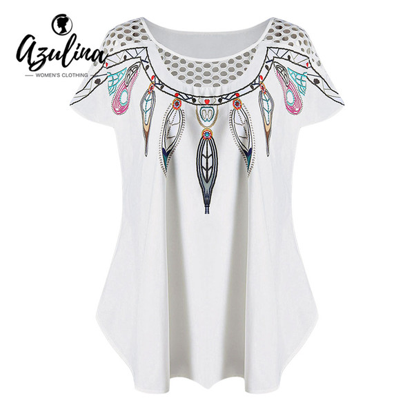 AZULINA Plus Size Women T-Shirt Summer Hollow Out Feather Print Top O Neck Short Sleeve Ladies Tops Causal Shirts Tees Clothing
