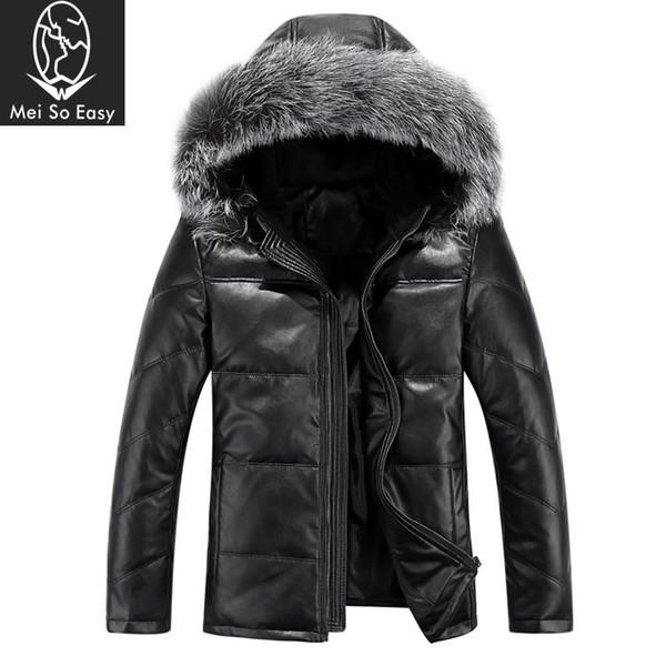Wholesale- new arrival Winter warm leather down coat men's jacket outerwear fashion casual hihg qulaity plus size M L XL 2XL 3XL 4XL