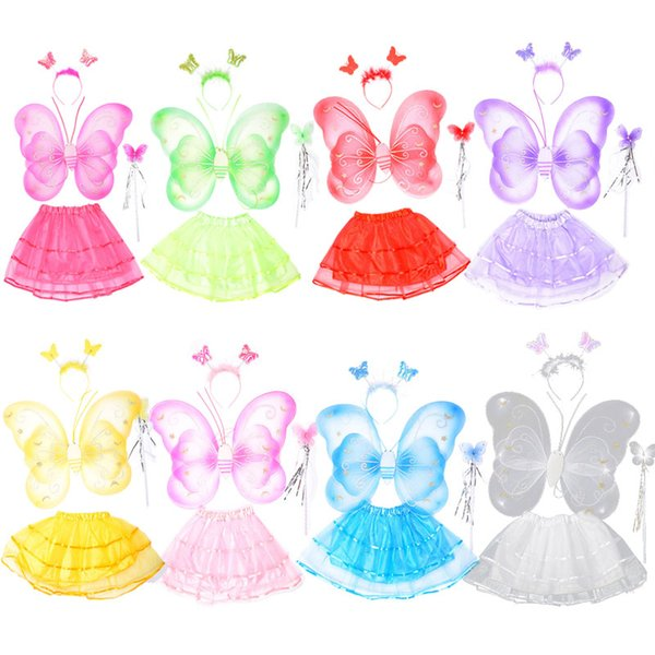 4pcs/Set Cartoon Butterfly Wing Headband Skirt Fairy Wand Party DIY Cosplay Costume Ballet Dance Clothing For Fairy Kids