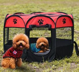 Dog Cage Folding Octagonal Pet Tent Cat Dog Delivery Room Pet Portable Fence Cage Multi Color