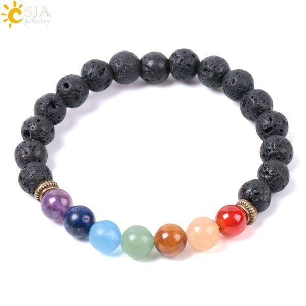 CSJA Natural Black Lava Rock Beads Bracelets 7 Chakra Mala Gems Stone Prayer Meditation Strand Bracelet Energy Reiki Jewelry Wholesale E955