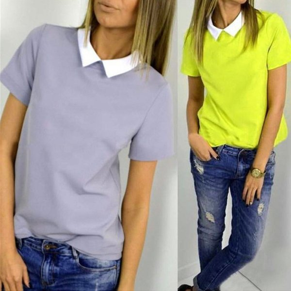 Newest S-XL Fashion Summer Loose Women Casual Short Sleeve Chiffon T-shirt Tops Shirt Hot Pink/Yellow/Gray