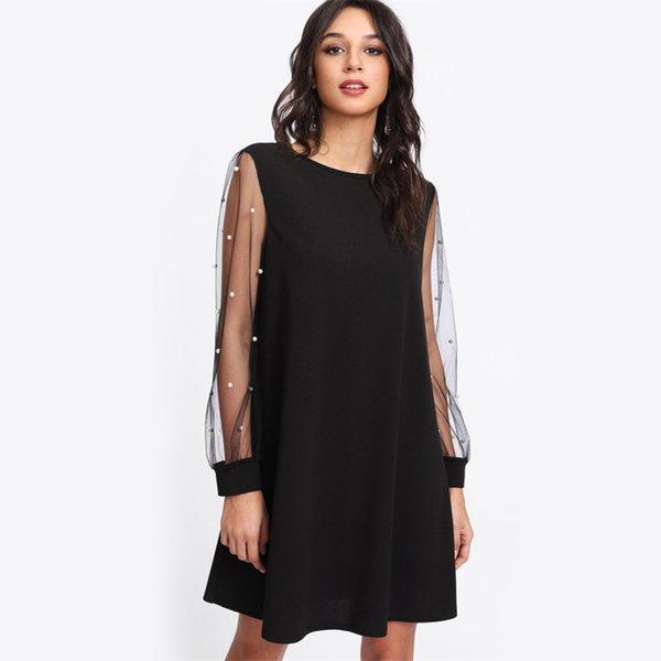 Großhandel Elegant Womens Dresses Perlen Friesen Mesh Sleeve Tunika ...