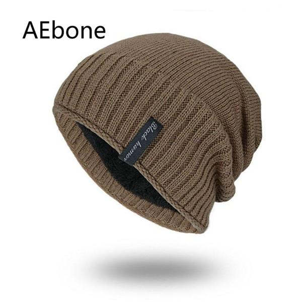 AEbone Beanies Kış Şapka Erkekler Kore Örme Beanie Şapka Kaput Homme Isıtıcı Kadife Hımbıl Cap Adam Katı Headgear AE8260