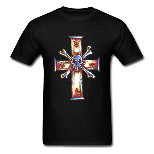 PP T-Shirt Men Gothic Cross Tattoos Death Skull T Shirts New Image Patterns Tee Shirt For Guy Wholesale Pure Cotton Tops