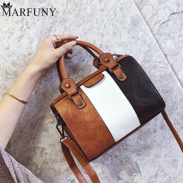 MARFUNY Boston Leather Bags Women Fashion Panelled Shoulder Bag Small Designer Handbags High Quality Letter Ladies Hand Bags New