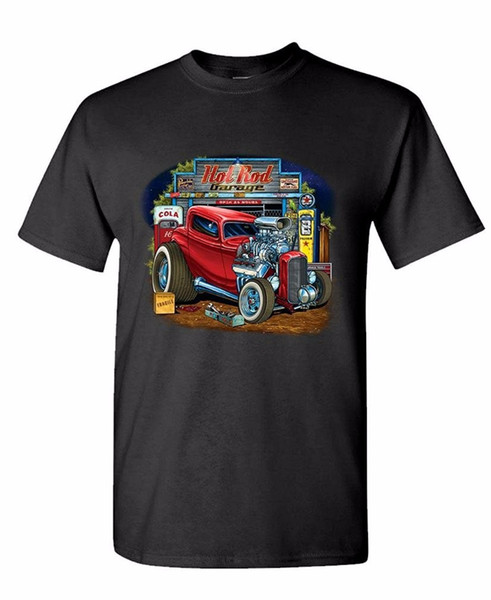 Comical Shirt's Men's Regular O-Neck Short-Sleeve Hot Rod Garage Race Low Hot Muscle Car Mens Cotton T-Shirt Tee Shirt