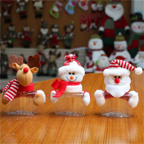 2019 Merry Christmas Candy Jar Santa Claus Muñeco de nieve Elk Cloth Art Candy Box Niños Regalo de Navidad Bastones Decoración de Navidad para el hogar Y3