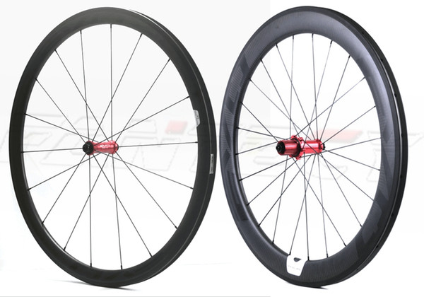 Free shipping EVO 700C Front 38mm Rear 50mm depth full carbon wheels 25mm width road bike wheelset with 3k matte finish clincher