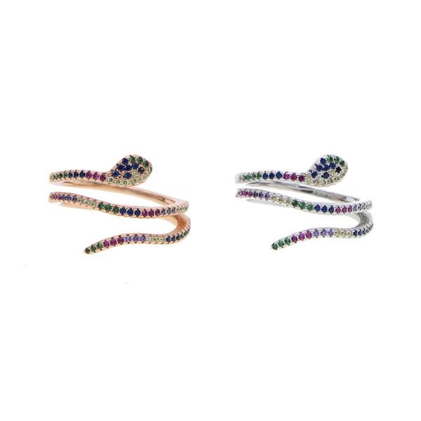 Screw Twist Rings BAR setting colorful stone SNAKE shape ring stranger bijoux rings women wedding party rainbow cz Jewelry 2018